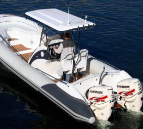 RIB Boat from behind showing engines and design